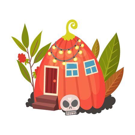 Little pumpkin house. Halloween object. Vector illustration.