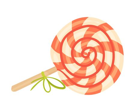 Striped lollipop on a wooden stick. Halloween object. Vector illustration. Banco de Imagens - 131734671
