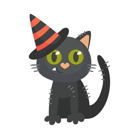 Cartoon black cat. Halloween object. Vector illustration.