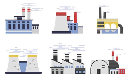 Set Of Six Flat Vector Illustrations Factories And Plants