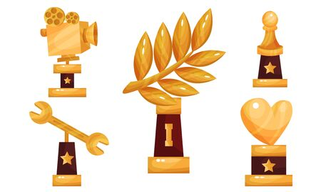 Set Of Five Vector Illustrations With Different Kinds Of Cups And Trophies