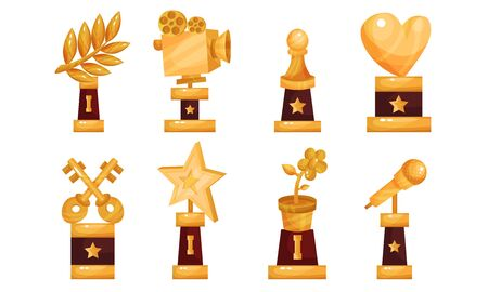 Different Kinds Of Cups And Trophies Vector Illustrations Set  イラスト・ベクター素材