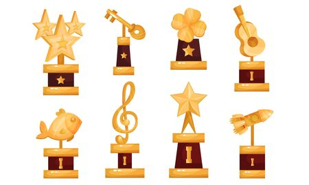 Different Kinds Of Golden Cups And Trophies Vector Illustrations Set