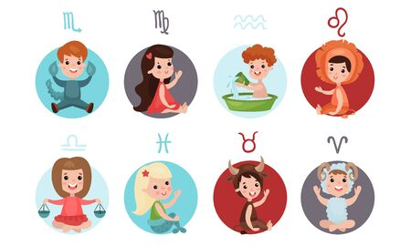 Vector Illustration Icons Set With Zodiac Signs For Kids