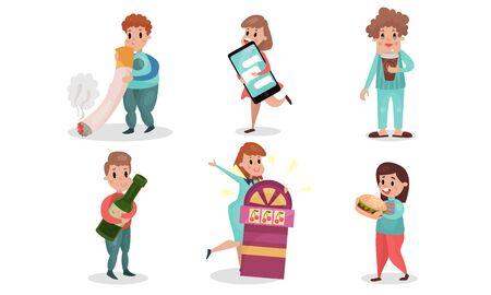 Bad Habits Vector Illustration Set Isolated On White Background Illustration