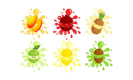 Set Of Colorful Fruit Cut To Pieces In The Air Vector Illustrations