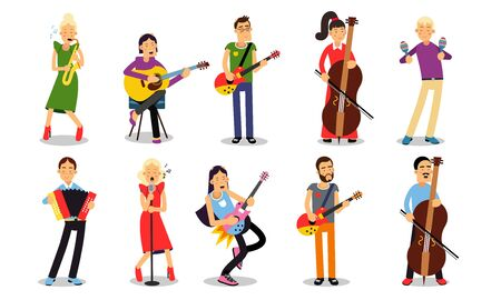 A girl and a boy play the cello, a woman sings and plays the trumpet, acoustic guitar or bass, guy plays electric guitar, accordion and maracas Illustration