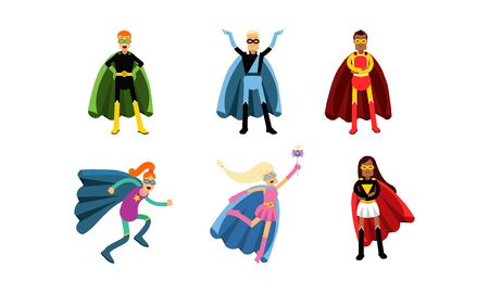 Collection Of Men And Women In Superheroe Costumes Vector Illustrations Ilustrace