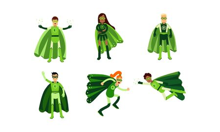 Men And Women In Green Superheroe Costumes With Ecological Signes Vector Illustration Set