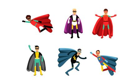 Collection Of Men In Superheroe Costumes Vector Illustrations
