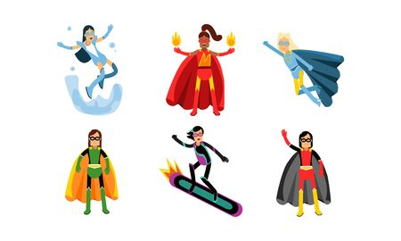 Collection Of Women In Superheroe Costumes Vector Illustrations Ilustrace