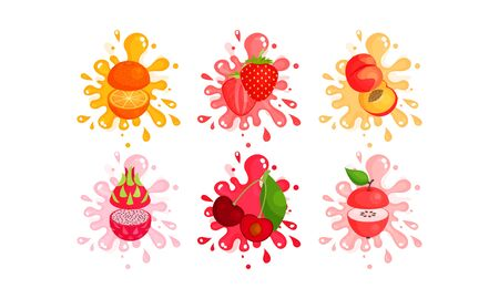 Colorful Juisy Fruits Cut To Pieces In The Air Vector Illustrations Set