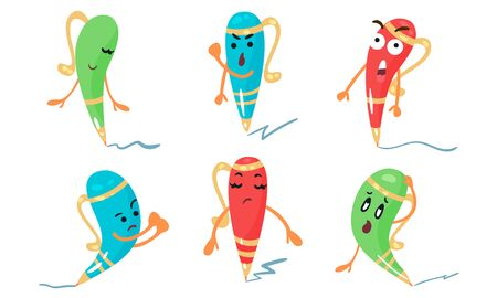 Set Of Vector Illustrations In Cartoon Style Of Colorful Animated Pens Banco de Imagens - 131735019