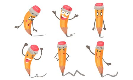 Pen With Different Emotions In Cartoon Style Vector Illustrations Set Çizim