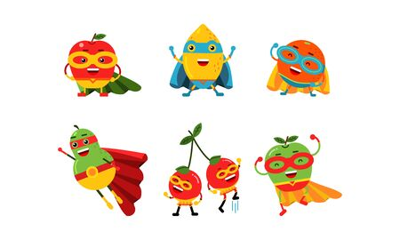 Cute Animated Fruits In Different Poses Cartoon Character Vector Illustration