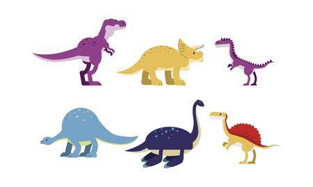 Ancient Big Dinosaurus Of Different Kind And Color Vector Illustrations Set Cartoon Character Ilustração