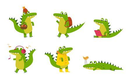 Alligatoren Zeichentrickfiguren. Grüne Krokodile in verschiedenen Posen, Musik hören, Jagen, Wandern, Internet streamen, Pilze suchen. Vektorillustrationen, isoliert, weißer Hintergrund.