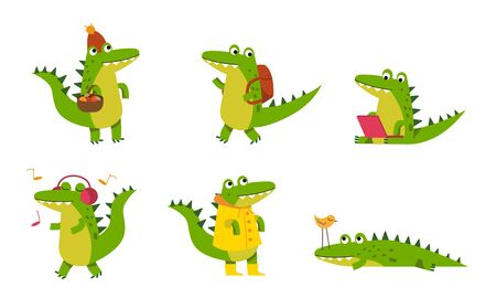 Cartoon alligators characters. Green crocodiles in various poses, listening music, hunting, hiking, streaming the internet, looking for mushrooms. Vector illustrations, isolated, white background. Çizim