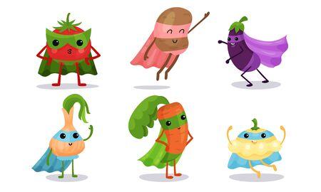 Verduras animadas lindas en diferentes poses Conjunto de ilustración de vector de personaje de dibujos animados