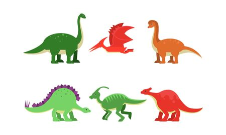 Dinosaurus of different kind. Brontosaurus, diplodocus, pteranodon, stegosaurus, parasaurolophus, brachiosaurus. Vector illustrations cartoon character isolated white background