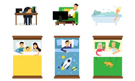 Old and young people with kids and pets sleeping in different places. On the beds with colorful linens, in the bathroom with soap bubbles, at the working desk, in the armchair in front of the TV