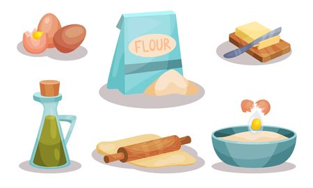 Baking Ingredients In Cartoon Style. Set Of Vector Food Icons. Volume Flat Objects Collection Фото со стока - 132150596