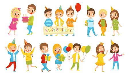 Small Kids Giving And Receiving Gifts For Birthday. Boys And Girls With Balloons And Birthday Cake Speaking To Each Other Vector Illustration