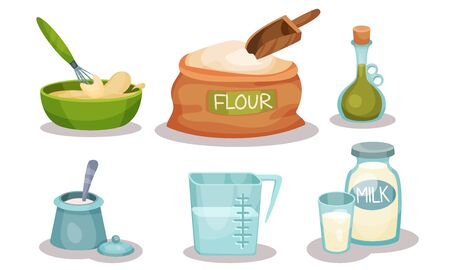 Baking Ingredients In Cartoon Style. Set Of Vector Food Icons. Volume Flat Objects Collection Illusztráció