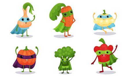 Verduras animadas lindas en capas de superhéroe personaje de dibujos animados ilustración vectorial