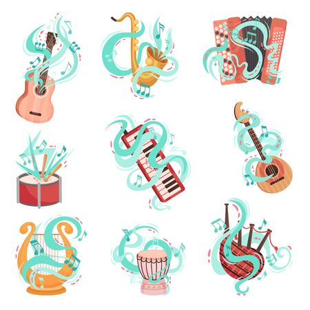 Vector Hand Drawn Collection Of Musical Instruments. Colorful Instrument Icon Set Concept With Line Design Elements On The Background