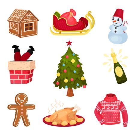 Christmas Cartoon Holiday Detailed Icon Collection. Festival Illustrated Items Isolated On White Background