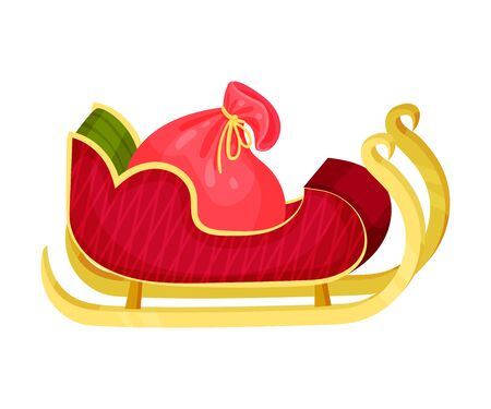 Santa s Sleigh With Gift Boxes. Christmas Traditional Symbol. Vector Icon.
