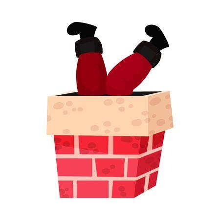 Santa Claus Stuck In A Chimney Cartoon Vector Christmas Flat Illustration. Hand Drawn Volume Flat Funny Illustrated Icon