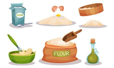 Baking Ingredients In Cartoon Style. Set Of Vector Food Icons. Volume Flat Objects Collection 向量圖像