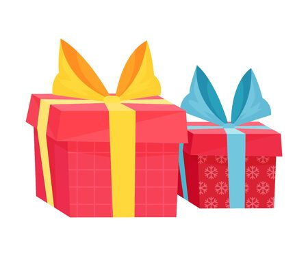 Vector Holiday Related Box With Presents And Surprises With Ribbon Wrapped In Colorful Paper. Isolated Illustration On White Background Vector Illustration  イラスト・ベクター素材