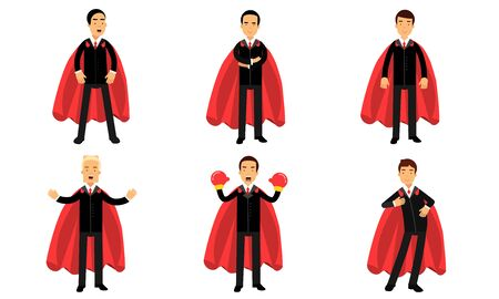 Vector Illustration Set Of Business Men In Superhero Costumes Power Concept Ilustrace