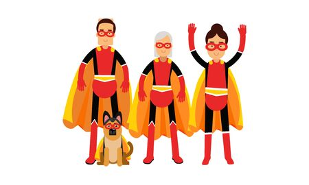 Group Of People With Dog All In Superheroe Costumes Vector Illustrations