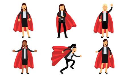 Business Women In Superheroe Costumes Power Concept Vector Illustrations