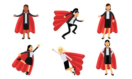 Vector Illustration Set Of Business Women In Superheroe Costumes Power Concept Ilustrace