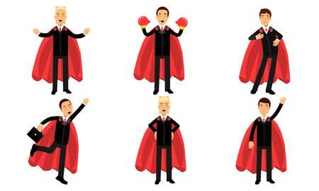 Vector Illustration Set With Men In Business Suits And Heroic Mantle Cartoon Characters