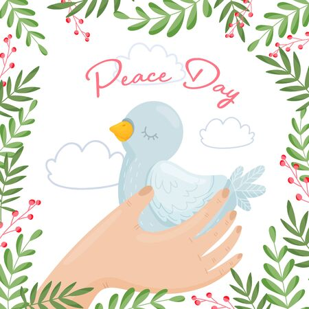 Hand Carrying Tenderly Pigeon And Olive Branches Framed The Card Boundries