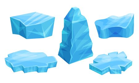 Set of huge pieces of ice. Vector illustration.