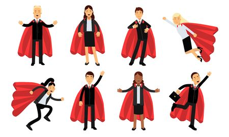 Vector Illustration Set Of Business Men And Women In Superheroe Costumes Power Concept