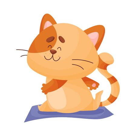 Cute cartoon orange kitten sitting in a twine bending his leg from behind. Side view. Asana Yoga. Vector illustration.
