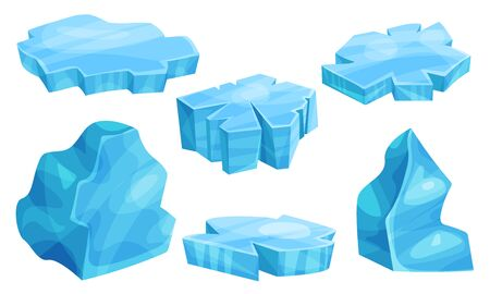 Set of flat pieces of ice. Vector illustration. Ilustrace