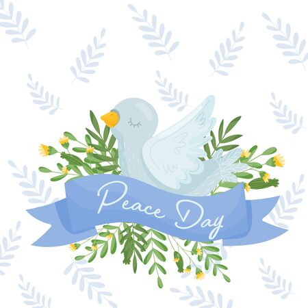 White Cartoon Dove Sitting On The Greenery With Its Eyes Closed Enjoying The Peace In The World