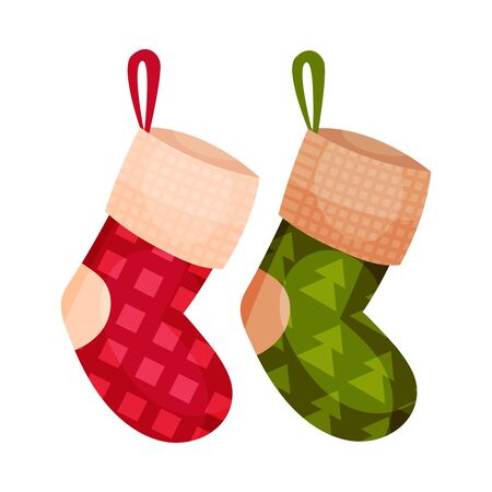 Knitted Christmas Stocking Flat Style Vector Illustration. Isolated On White Background. Cute Christmas Decoration Element