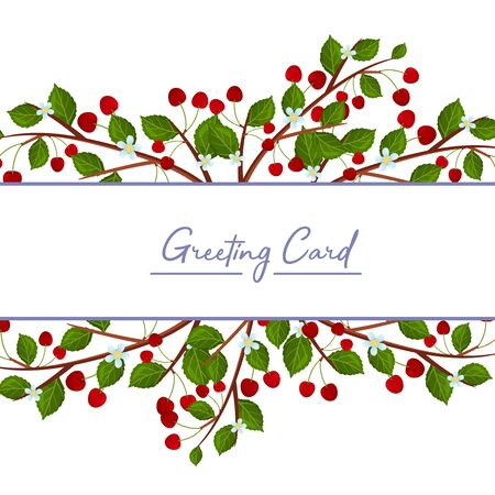Wide white stripe with the inscription Greeting card. is decorated with branches with moldings and fruits of cherry. Vector illustration.