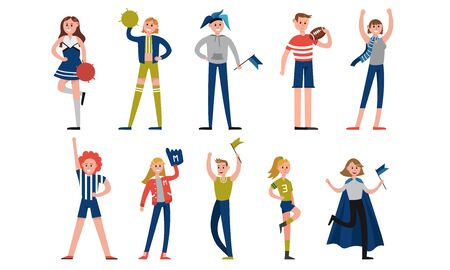 Sports lovers in colorful clothes with fan attributes and equipment such as cheerleading pom pom, scarf, wig, glove, hat, flag and other
