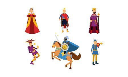 Personajes de dibujos animados medievales de una reina, un rey, un príncipe, un bufón, un caballero a caballo y un heraldo en conjunto de ilustración vectorial